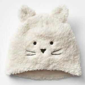 Baby Gap New Ivory Frost Kitty Cat Soft Sherpa Hat